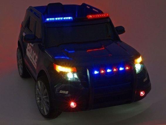 Электромобиль Ford Police черно-белый (полицейский, колеса резина, сиденье кожа, пульт, музыка, рация)