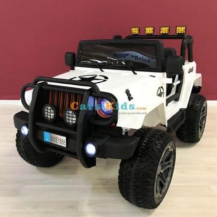 Электромобиль Jeep Wrangler 4WD WXE1688 белый (2х местный, полный привод, колеса резина, сиденье кожа, пульт, музыка)