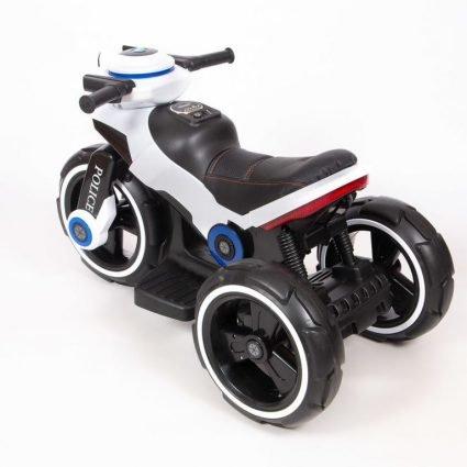 Электромотоцикл Y-Maxi YM 198 Police белый (колеса резина, кресло кожа, амортизация, подсветка, музыка, скорость 6-7 км\ч)