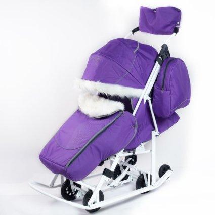 Санки-коляски Pikate Снеговик «Фиалка» (материал «Oxford» плотностью 600 D, 3 положения спинки, краска рамы белый)