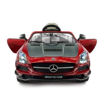 Электромобиль Mercedes-Benz SLS AMG VIP Carbon красный (колеса резина, сиденье кожа, пульт, музыка, электроусилитель)