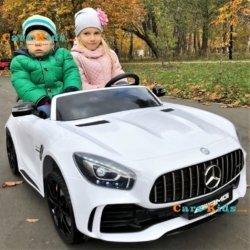 Электромобиль Mercedes-Benz GT R 4x4 MP4 - HL289-4WD белый (сенсорный дисплей MP4, 2х местный, колеса резина, кресло кожа, пульт, музыка, кондиционер)