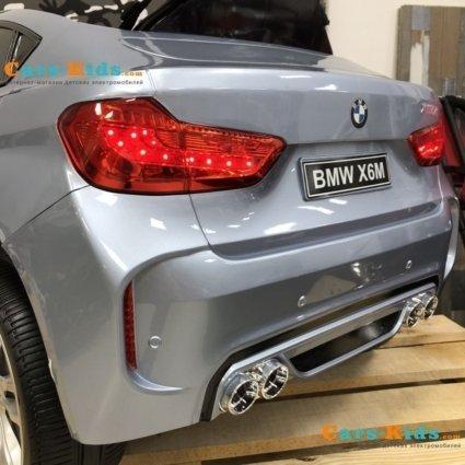 Электромобиль BMW X6M Mini JJ2199 серебристый (колеса резина, кресло кожа, пульт, музыка)