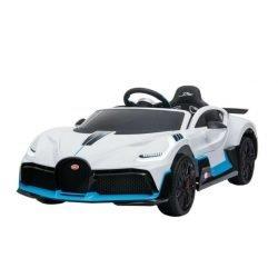 Электромобиль Bugatti Divo 12V - HL338 белый (колеса резина, кресло кожа, пульт, музыка)