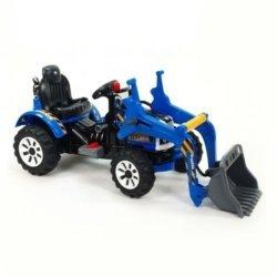 Детский электромобиль трактор на аккумуляторе синий- JS328A-Y (колеса накладки резина, ковш)