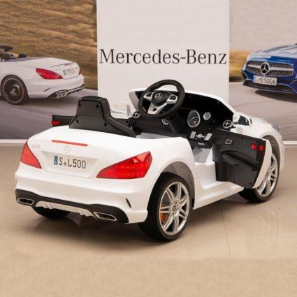 Электромобиль Mercedes-Benz SL500 AMG белый (колеса резина, кресло кожа, пульт, музыка)