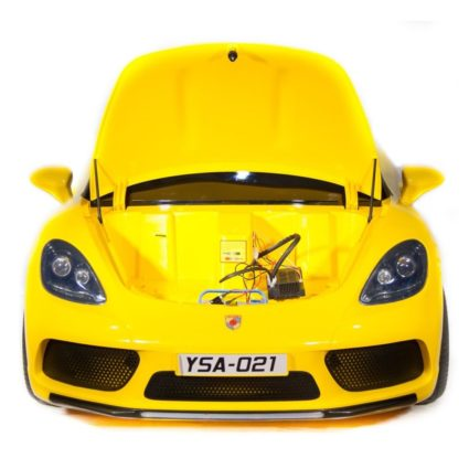 Электромобиль Porsche Cayman YSA021 белый (кресло кожа, колеса резина, пульт, музыка)