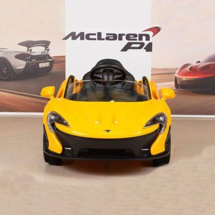 Электромобиль Mclaren 672R желтый (колеса резина, кресло кожа, пульт, музыка)